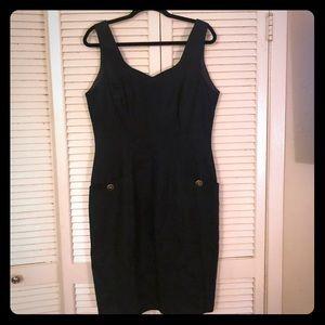 {Vintage} Pinup sleeveless dress w/ button pockets
